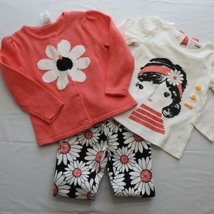 New Gymboree 3pc Outfit Set Size 2T Daisy Sweater